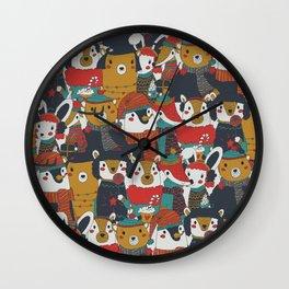 Funky Retro Christmas Animals Wall Clock