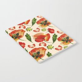 Chic Floral Poppy Flowers Watercolor Pattern Notebook