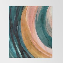 Breathe: a vibrant bold abstract piece in greens, ochre, and pink Throw Blanket