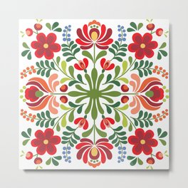 Hungarian Folk Design Red and Pink Metal Print