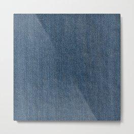 Blue Denim Texture Metal Print