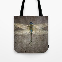 Dragonfly On Distressed Metallic Grey Background Tote Bag