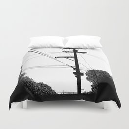 Power Lines at the bluff Duvet Cover