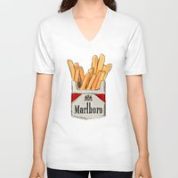 fries V-neck T-shirts featuring Fries by Sara Eshak