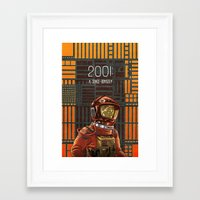 2001 a space odyssey Framed Art Prints featuring 2001: A Space Odyssey by Temescu Illustration