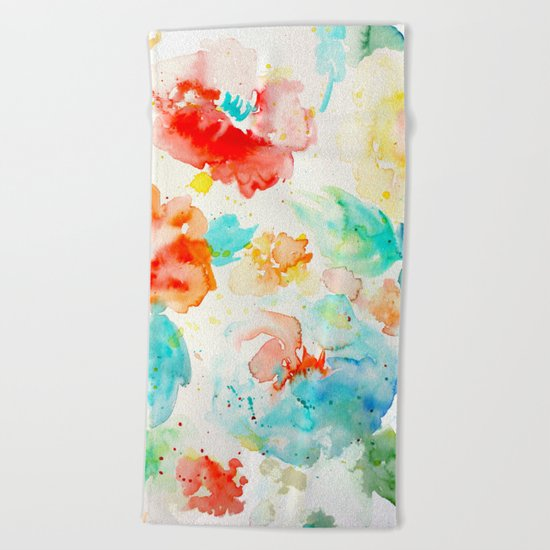 Abstract Flowers 02 Beach Towel