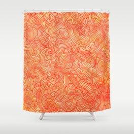 Red and orange swirls doodles Shower Curtain