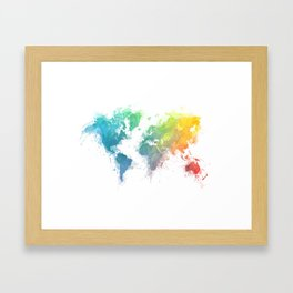 World Map splash 1 Framed Art Print