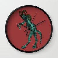 demon Wall Clocks featuring Demon by Cyrus Wang