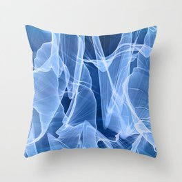 Indigo Blue Transparent Silk Flow Throw Pillow