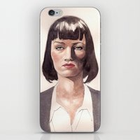 mia wallace iPhone & iPod Skins featuring Mia Wallace by Ow Wei Yi