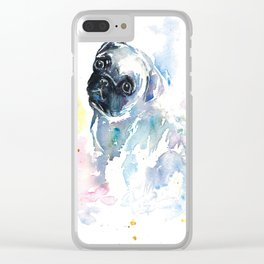 Pug Puppy in Splashy Watercolor Clear iPhone Case