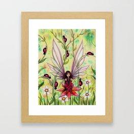 Ladybug Fairy Fantasy Art Illustration by Molly Harrison Framed Art Print