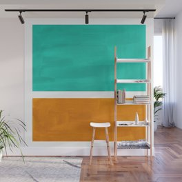 Marine Green Yellow Ochre Mid Century Modern Abstract Minimalist Rothko Color Field Squares Wall Mural