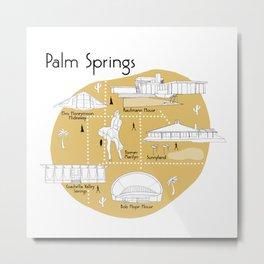 Palm Springs Map - Yellow Metal Print
