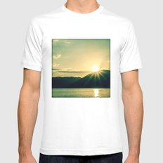 at the lake White MEDIUM Mens Fitted Tee
