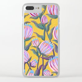 Bold Protea Flower Pattern - Pink Blue Green Purple Yellow Clear iPhone Case
