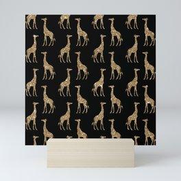 Black Gold Glitter Giraffe Pattern Mini Art Print