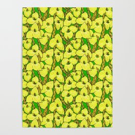Puya Flowers, Floral Pattern, Green Yellow Poster