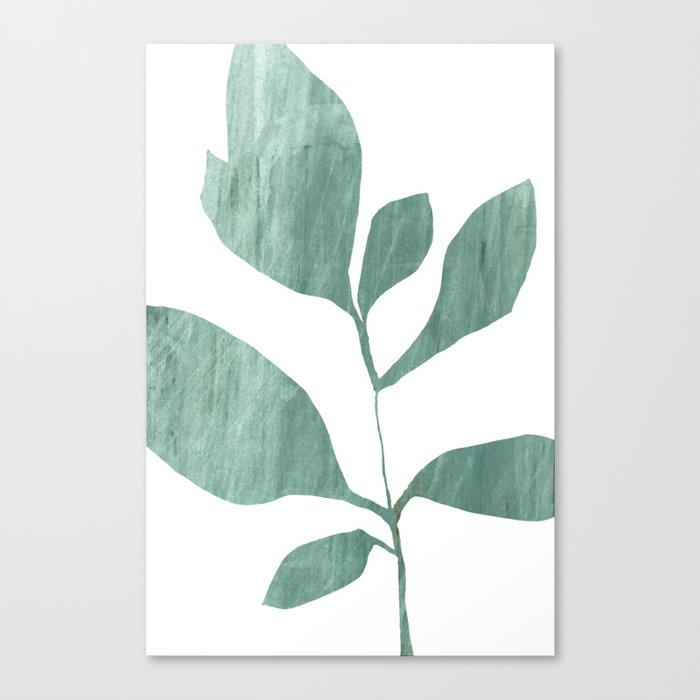 Seven Leaf Plant - Green Botanical Watercolor Painting Leinwanddruck