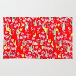 Tulips in red Rug
