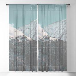 Snowy Mountains Under Teal Sky - Alaska Sheer Curtain