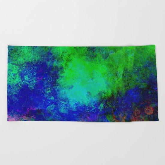 Awaken - Blue, green, abstract, textured painting Beach Towel