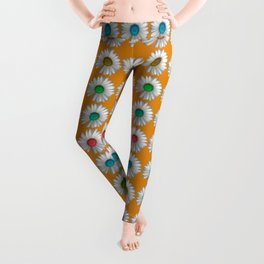 Photographic Daisy Pattern Brights Leggings