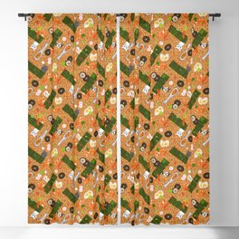 Japanese Ramen Noodles Pattern with Beckoning Cat Blackout Curtain