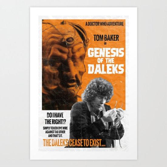 Doctor Who, 4th Doctor + Daleks, Retro Vintage Movie Poster Art Print