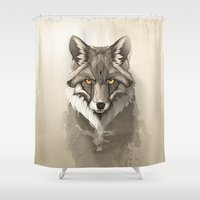 fox Shower Curtains featuring Red Fox by Rafapasta