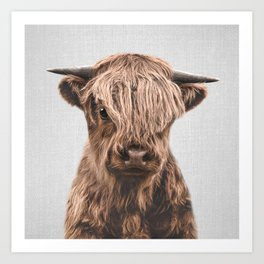 Highland Calf - Colorful Art Print