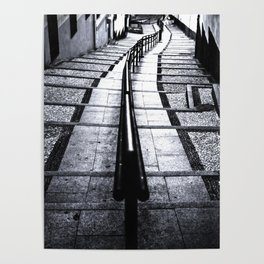 lines and stairs in black and white Poster