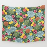cacti Wall Tapestries featuring cacti by Laura Solitrin