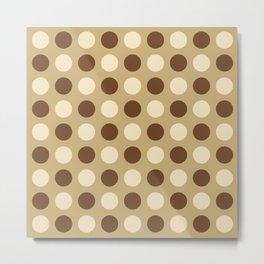 Mid Century Modern Polka Dots 930 Beige and Brown Metal Print