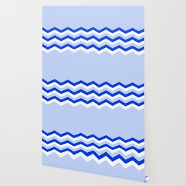 Geometric abstract - zigzag blue and white. Wallpaper