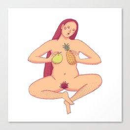 Wild red hair women sitting cross legged and holding tropical fruits Canvas Print