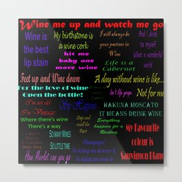 Wine Quotes on Black Background Metal Print
