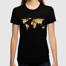 Metallic Gold Leaf Map on paper T-shirt