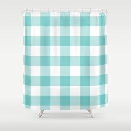 Aqua Gingham Pattern Shower Curtain