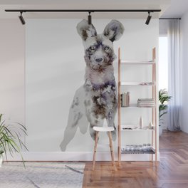 Watercolor African Wild Dog Painting Wall Mural