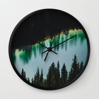 allyson johnson Wall Clocks featuring Johnson Lake by SachelleJuliaPhotography