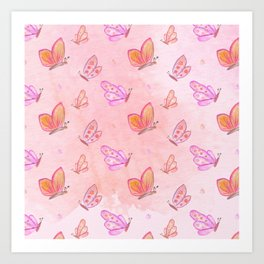 Watercolor Neck Gaiter Watercolor Pink Butterflies Neck Gator Art Print