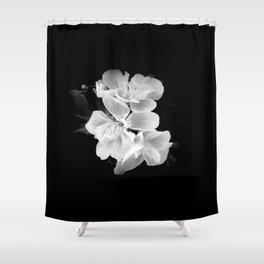 geranium in bw Shower Curtain