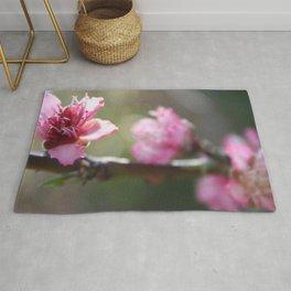 A Bough Of Blurred Peach Blossom Rug
