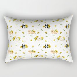 Puppies And Sunflowers Rectangular Pillow