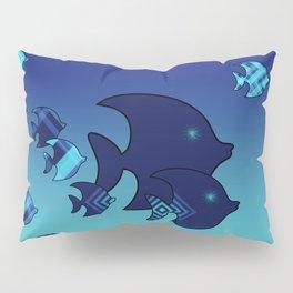 Nine Blue Fish with Patterns Pillow Sham