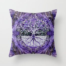 Silver Tree of Life Yggdrasil on Amethyst Geode Throw Pillow