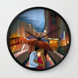 Kissing In The Rain by zombieCraig Wall Clock