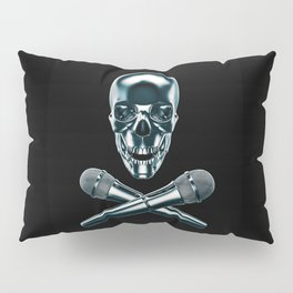 Pirate tunes / 3D render of skull and cross bones with microphones Pillow Sham